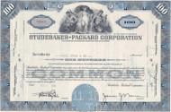Studebaker-Packard 1950's stock certificate - blue