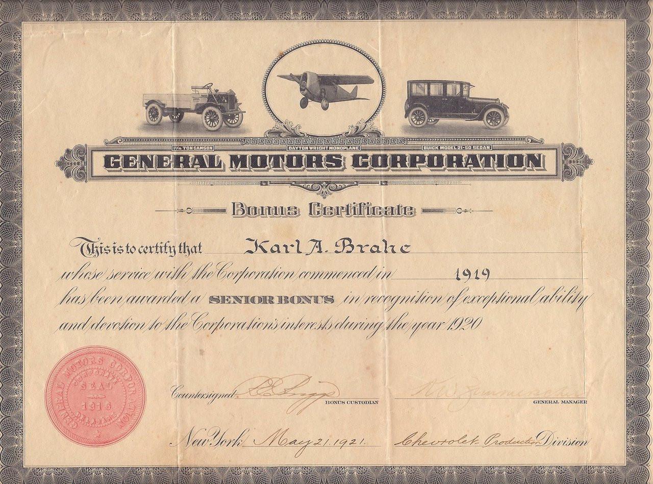 General Motors Bonus Certificate 1920