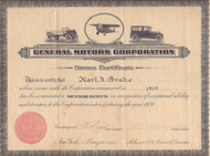 General Motors Bonus Certificate 1920