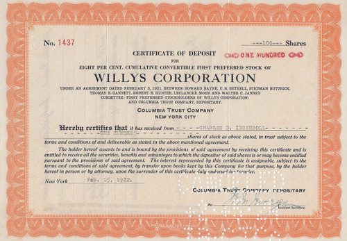 Willys Certificate of Deposit for stock 1921