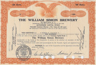 William Simon Brewery stock certificate orange 1933