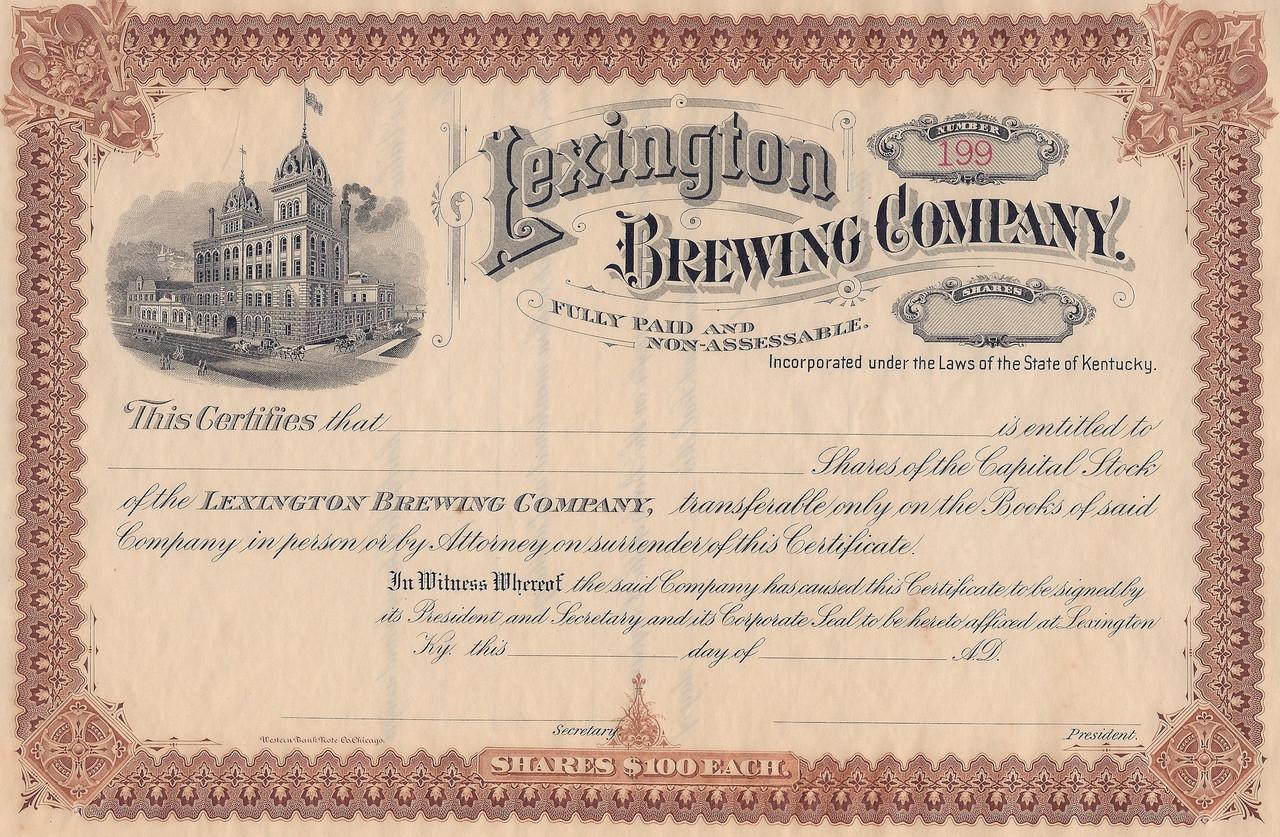 Lexington Brewing Company Stock Certificate 1898