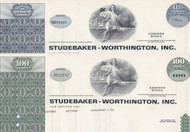 Studebaker-Worthington stock certificate set of 2 colors - green ,blue