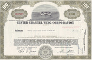 Custer Channel Wing Corporation 1960's stock certificate - olive
