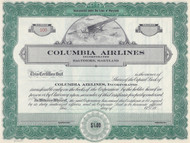 Columbia Airlines, Incorporated 1940's stock certificate