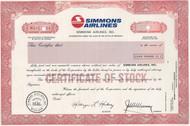 Simmons Airlines, Inc. specimen stock certificate