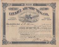Ezekiel Airship Manufacturing Company 1902 stock certificate