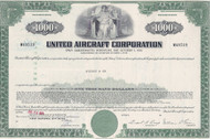United Aircraft Corporation $1000 bond certificate (green)