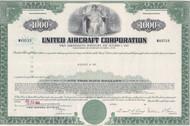 United Aircraft Corporation $1000 bond certificate (green)