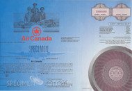 Air Canada specimen stock certificate 1988 blue