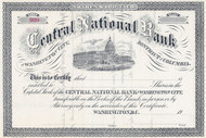Central National Bank, Washington DC 1900 stock certificate