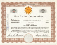 Sun Airline Corporation 1968 stock certificate