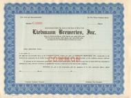Liebmann Breweries stock certificate 1930's