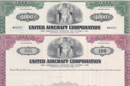 United Aircraft stock cert set