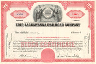 Erie-Lackawanna Railroad Company stock certificate - red
