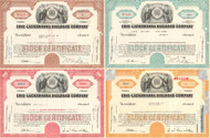 Erie-Lackawanna Railroad Company stock certificates - set of 4 colors