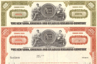 New York, Chicago, and St Louis Railroad - Nickel Plate Road stock certificate - set of 2 colors