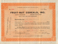 Fruit-Nut Cereals, Inc. 1922 stock certificate