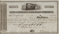 Ohio and Indiana Railroad Company 1853 stock certificate