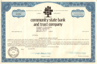 Community State Bank and Trust Company 1973 stock certificate
