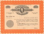 Hamilton Fire Insurance Company 1900's stock certificate