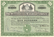 Pennsylvania Railroad (State Seal) stock certificate - green