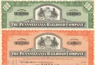 Pennsylvania Railroad (State Seal) stock certificate - set of 2 colors