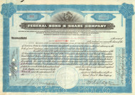 Federal Bond and Share Company stock certificate 1930