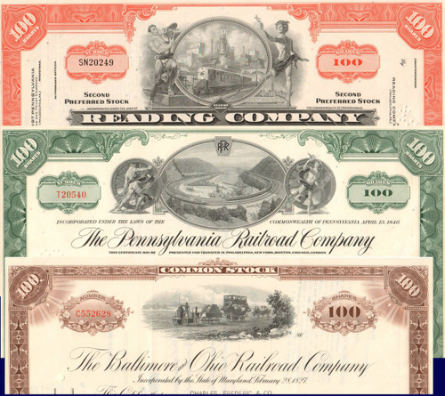 Monopoly Game Railroads stock certificate set
