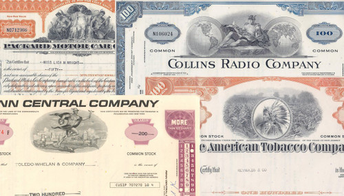 Set of 10 general stock certificates