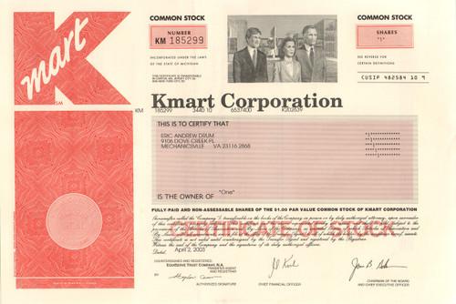 Kmart Corporation Stock Certificate 2003