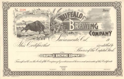 Buffalo Brewing Company stock certificate