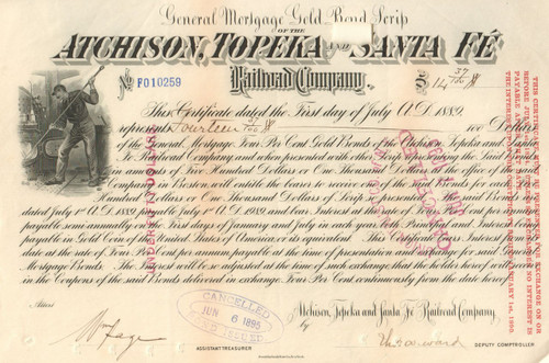 Atchison, Topeka, and Santa Fe RR Gold Bond Scrip 1889 stock certificate