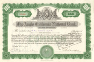 Anglo California National Bank of San Francisco 1944 stock certificate