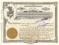 North American Equitable Life Assurance Company stock certificate 1967