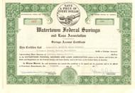 Watertown Federal Savings and Loan Association stock certificate 1957
