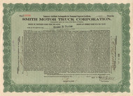 Smith Motor Truck  stock certificate 1918