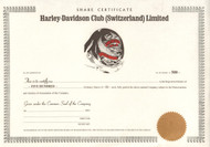 Harley-Davidson Club (Switzerland) Limited share certificate 1993