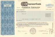 Careercom stock certificate 1988