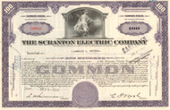 Scranton Electric Company stock certificate - purple