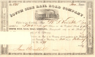 South Side Rail Road Company (Virginia) 1871 stock certificate