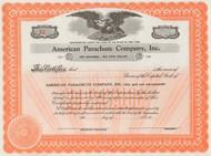 American Parachute Company circa 1942 stock certificate