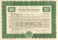 Sovereign Hotel Corporation (Chicago) 1923 stock certificate