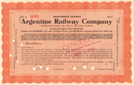 Argentine Railway Company stock certificate 1912 - orange