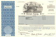 ENRON Corp 2002 stock certificate with Kenneth Lay as president