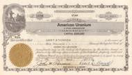 American Uranium stock certificate 1955