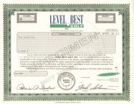 Level Best Golf  stock certificate specimen circa 1993