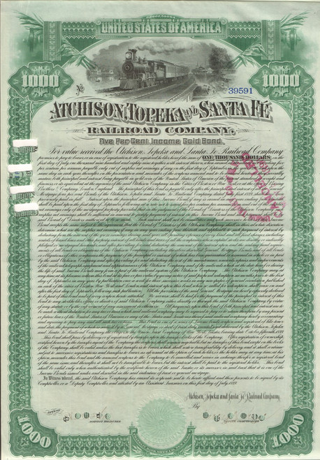 Atchison, Topeka, and Santa Fe Railway $10,000 vertical bond 1889