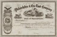 Philadelphia and Erie Land Company stock certificate circa 1860