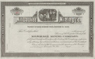 Milwaukee  Mining Company  stock certificate circa 1887
